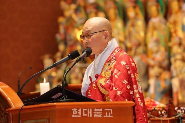 천태종 18대 총무원장이 된 문덕 스님.