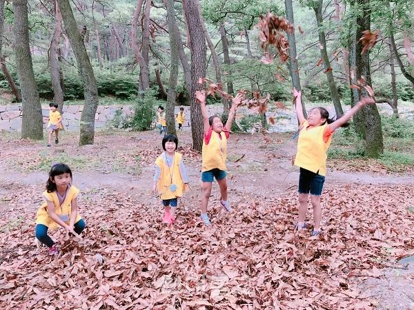 통도사 어린이법회에서 진행한 숲·예술 프로그램 놀이. 아이들이 통도사 경내를 다니며 자연을 관찰하고 있다.