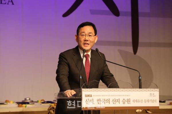 축사하는 주호영 국회 정각회장.