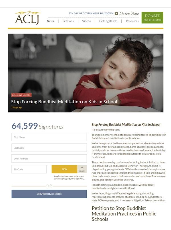 미국 기독교 보수단체인 ACLJ가 공립학교에서 시행되는 불교식 명상교육 프로그램을 반대해 논란이 일고 있다. ACLJ 홈페이지 반대청원서 화면.