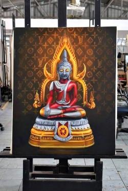 문제가 된 4점의 그림 중 하나. 부처님이 울트라맨으로 묘사됐다. 사진출처=방콕포스트